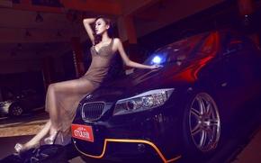 Картинка машина, авто, девушка, модель, BMW, азиатка, автомобиль, korean model