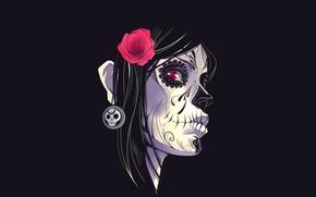 Картинка цветок, фон, Девушка, раскрас, Dia De Los Muertos, Day Of The Dead