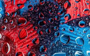Картинка стекло, капли, синий, красный