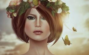 Картинка девушка, лицо, бабочка, стрижка, портрет, брюнетка, венок