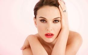Картинка девушка, лицо, портрет, макияж, актриса, Natalie Portman, Натали Портман, шатенка