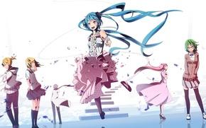 Картинка девушки, арт, ступеньки, парни, vocaloid, hatsune miku, megurine luka, kagamine rin, вокалоид, kagamine len, kaito, …