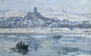 Обои пейзаж, река, Ветёй Зимой, лодка, картина, Клод Моне
