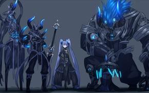 Обои blue eyes, horns, demon