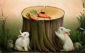 Картинка праздник, морковка, кролик, пенек, happy new year, поздравления, символ года, открытка