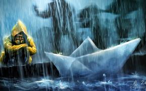Картинка дождь, человек, арт, кораблик