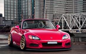 Картинка мост, город, red, Honda, небоскрёбы, S2000, front, roadster