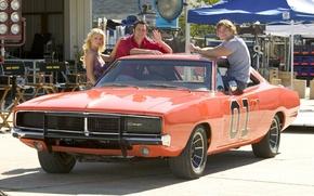 Обои Muscle car, Jessica Simpson, Charger, фильм, 1969, передок, ораньжевый, актёры, General Lee, фон, The Dukes ...