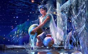 Картинка вода, брызги, звёзды, фэнтези, кристаллы, fantasy, Водолей, созвездие, дворец, stars, юноша, CG wallpapers, Зодиак, Ютака …