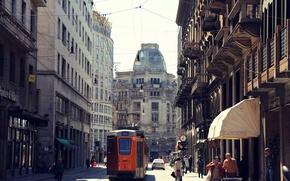 Картинка дорога, машины, город, люди, улица, здания, дома, Италия, трамвай, архитектура, Милан, Italy, Milan, Milano