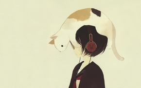 Картинка кошка, настроение, минимализм, аниме, арт, неко