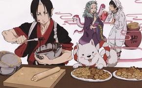 Картинка змеи, радость, шоколад, собака, печенье, демон, кимоно, art, готовка, shiro, hoozuki, natsumi eguchi, hoozuki no …