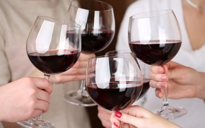 Картинка люди, праздник, вино, Бокалы, тост