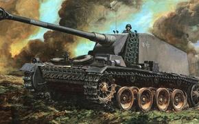 Картинка рисунок, арт, искуство, Emil, Упрямый Эмиль, Selbstfahrlafette auf VK3001(H), тяжёлый истребитель танков, Sturer, экспериментальное немецкое …