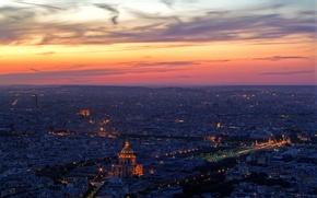 Обои Париж, вечер, облака, огни