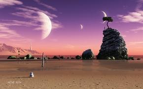 Картинка песок, море, вода, пейзаж, камни, фантастика, дерево, скалы, планеты, человек, вид, башня, арт, пирамидка, шпиль