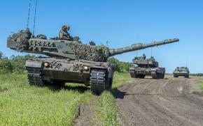 Картинка дорога, танки, Leopard 2A6