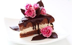 Картинка шоколад, розы, торт, сахар, пирожное, cake, крем, десерт, выпечка, тортик, сладкое, chocolate, глазурь, dessert, кусочек, ...