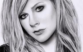 Картинка рисунок, портрет, карандаш, Avril Lavigne