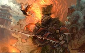 Обои птицы, порез, меч, воин, Картина, ткань, огонь