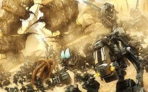 Обои солдаты, далекая, армия, планета, роботы
