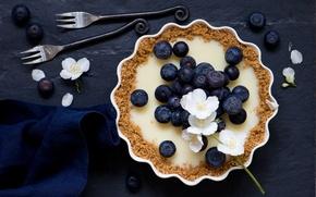 Обои цветки, ягоды, голубика, тарт, пирог, вилки