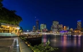 Картинка ночь, мост, огни, река, дома, небоскребы, Австралия, фонари, набережная, Brisbane