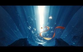 Картинка свет, снег, красный, камни, фантастика, скалы, рисунок, гора, шарф, арт, ткань, ущелье, light, red, rock, …