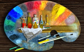Картинка краски, палитра, живопись, рисование, кисточки