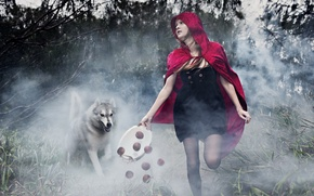 Картинка волк, сказка, девочка, монтаж