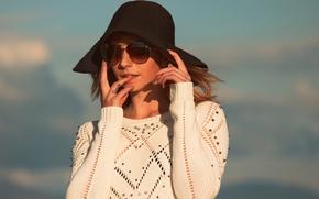 Картинка девушка, лицо, стиль, шляпа, очки