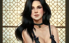 Картинка грудь, взгляд, волосы, арт, медальон, art, чародейка, Witcher 3: Wild Hunt, Yennefer of Vengerberg, Йеннефэр …