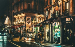 Обои Quartier Latin, night, urban scene, people, Paris, everyday life