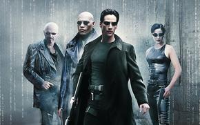 Картинка Action, Fantasy, Neo, Supernatural, Wallpaper, Guns, Keanu Reeves, The Matrix, Trinity, Movie, Film, Sci-Fi, Laurence …