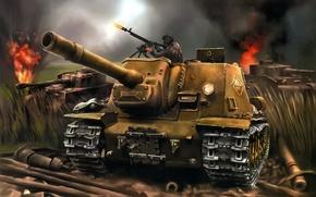 Картинка средние, вооружения, 152мм., WW2., ИСУ-152, арт, подбитые, немецкие, артиллерийская, САУ, танка, 1970-х, танк, Pz.Kpfw. IV, …