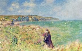 Обои Клод Моне, картина, Край Скалы в Пурвиле, пейзаж