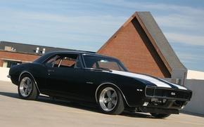 Обои Chevrolet, Camaro SS, белые полосы, Чёрная