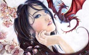 Картинка взгляд, девушка, дракон, красота, art, Mulan