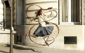 Обои девушка, улица, фотограф, coca-cola, роман лоурент, струю