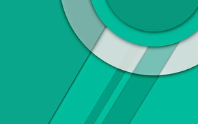 Обои белый, линии, круги, зеленый, Android, material