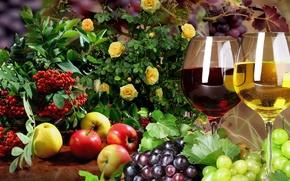 Картинка Рябина, натюрморт, фрукты, бокалы, яблоки, виноград, розы