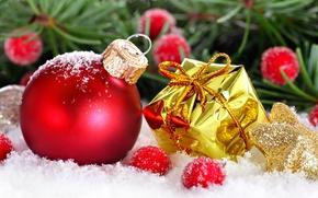 Обои праздник, подарок, шарик, украшение