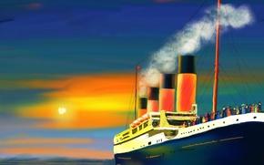 Обои море, солнце, дым, картина, труба, пассажиры, теплоход