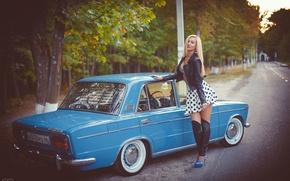 Картинка машина, девушка, Авто, классика, Lada, auto, Лада, ВАЗ, БПАН, Без Посадки Авто Нет