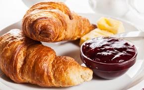 Обои завтрак, выпечка, джем, berries, croissant, breakfast, круассан, jam