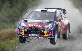 Картинка Скорость, Гонка, Ситроен, Citroen, DS3, WRC, Rally, Sebastien Loeb, В воздухе, Передок, Летит