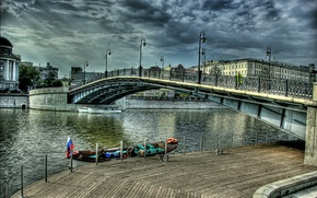 Картинка река, Москва, Россия, Russia, river, bridge, Moskow, Лужков мост