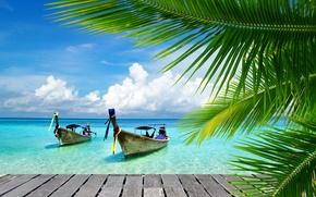 Картинка море, пальма, лодки, мостик, sea, bridge, boats, тропик, palm, tropic