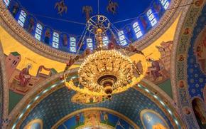 Обои Чикаго, люстра, США, Иллинойс, купол, религия, церковь Святых Владимира и Ольги, украинская католическая парафия