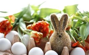 Картинка цветы, заяц, яйца, Пасха